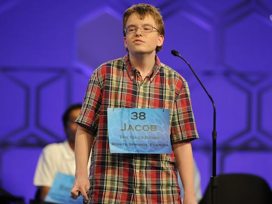 "Jacob Williamson, 15, of Cape Coral, turns to leave the stage after misspelling ""Kabaragoya"" in the finals of the National Spelling Bee on Thursday night."