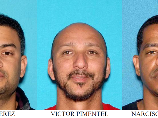 Three suspects charged in a multimillion-dollar cocaine ring are, from left, Kuiny Perez, Victor Pimentel and Narcisco Ramirez.