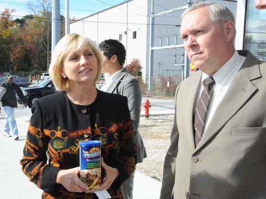 Lt. Gov. Kim Guadagno addresses members of the media during a visit to the Progresso plant in Vineland in 2011.