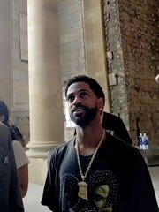 Big Sean inside Michigan Central Station following