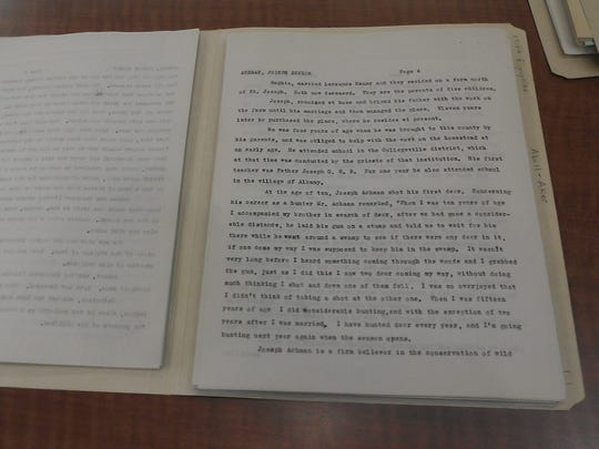 A file is opened to one page of a Stearns County WPA