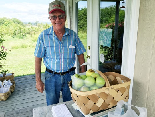 Jack Pratt at Pratt's Orchard in Wilson County enjoys