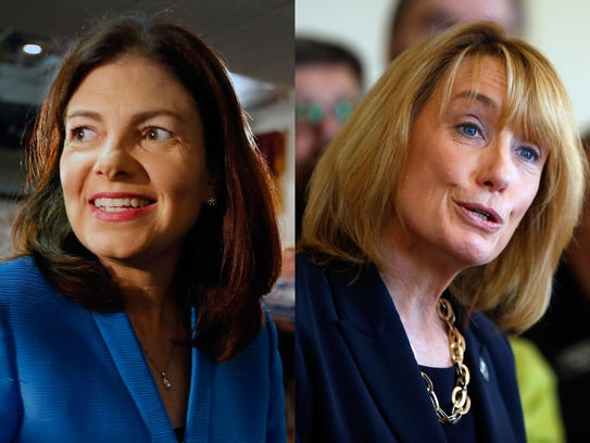 New Hampshire Republican Sen. Kelly Ayotte, left, and