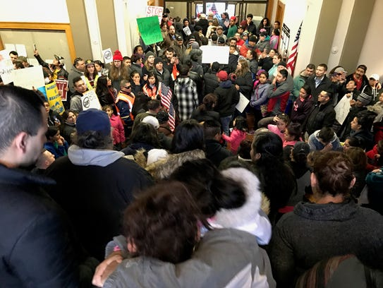 Protesters flood into Sheboygan's City Hall on Monday