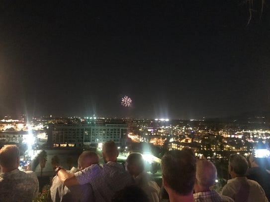 After dusk, guests enjoy watching fireworks displays