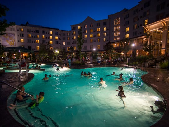 The pool at Dollywood's DreamMore Resort is open until