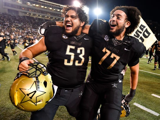 Vanderbilt offensive lineman Sean McMoore (53) and