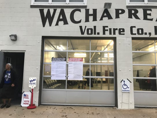 The Wachapreague Fire House has a steady flow of voters