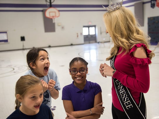 Fourth-grader Sarah Hernandez becomes excited at the