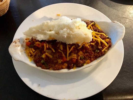 Knic Knac's shepherd's pie, highly recommended, turned