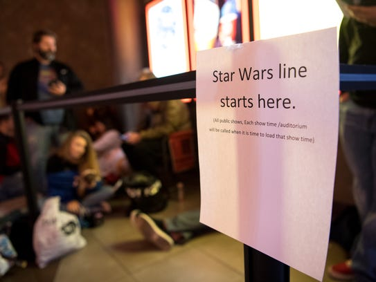 Fans wait in line for Star Wars: The Last Jedi at the