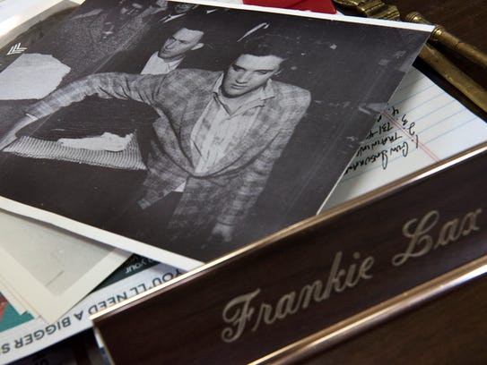 An image of the late Elvis Presley and Frank Lax is