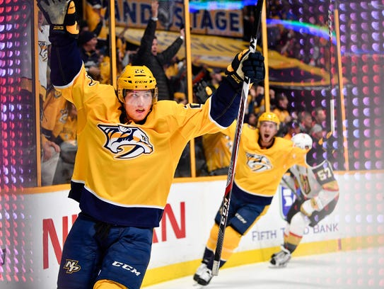 Predators left wing Kevin Fiala (22) celebrates his goal against the Vegas Golden Knights on  Jan. 16.