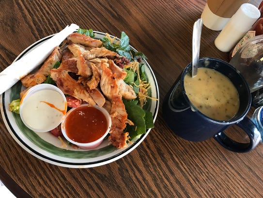 The buffalo chicken salad at 8th Street Coffee House