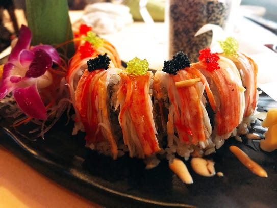 A sushi roll at Mojo Thai & Sushi, which opened in