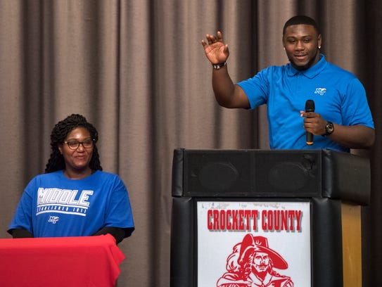 Crockett County's Jordan Branch gives a speech after signing with MTSU on Wednesday.