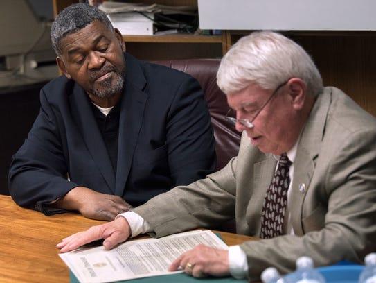 State Rep. Jimmy Eldridge, R-Jackson, reads a resolution