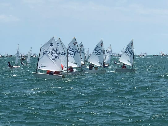 Ryan, right, leads the fleet. Marco Island Charter