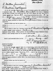 Marriage certificate for Laura Upthegrove in August 1927.