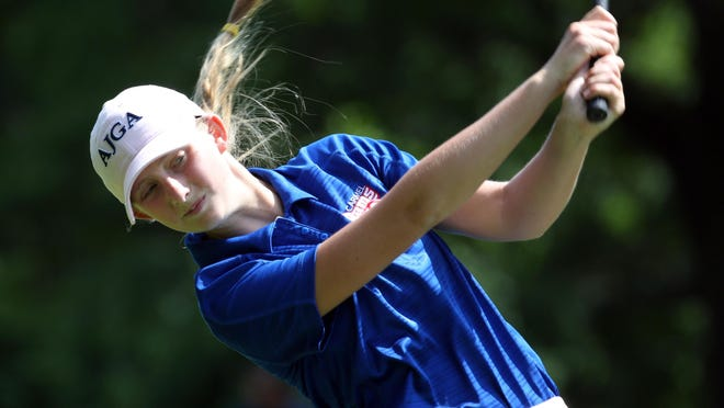Lauren Peter a freshman from Carmel, won the Section 1 girls golf tournament at the Whippoorwill Club in Armonk, June 3, 2015.