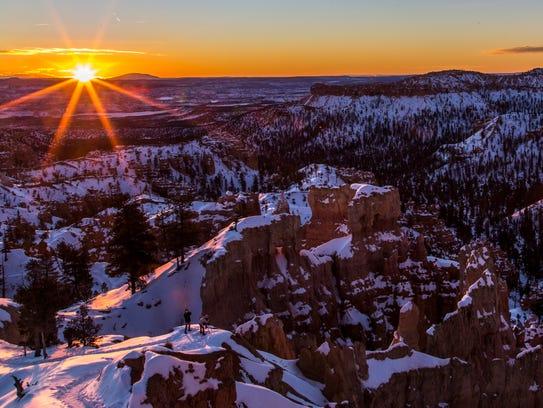 The sun rises at Bryce Canyon National Park, Sunday,