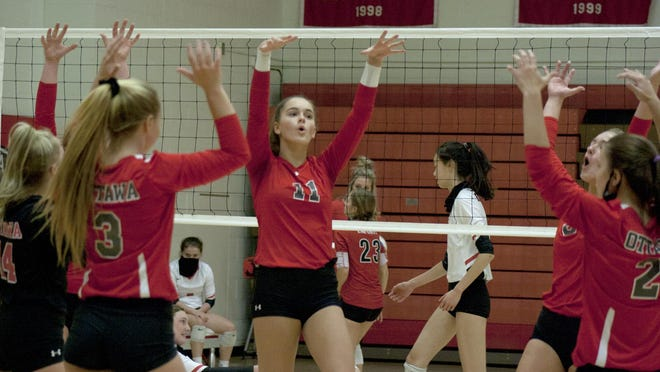 The Ottawa High School volleyball advanced to the 4A State Tournament Final 4 with a quarterfinal straight sets win Tuesday against Labette County. [HERALD FILE PHOTO].