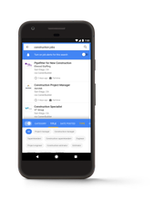 A Google for Jobs search for construction jobs.