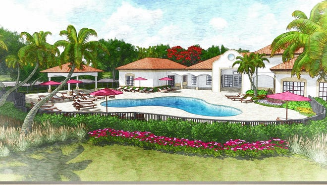 An artist's conception of the clubhouse at Milano Lakes, a new apartment community off Collier Boulevard in south Naples.