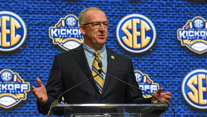 SEC commissioner Greg Sankey speaks during SEC football media day at the College Football Hall of Fame on July 16, 2018 in Atlanta, Ga.