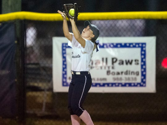 Farragut's Delaney Weller catches a fly ball during