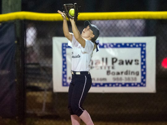 Farragut's Delaney Weller catches a fly ball during the game against Bearden at Farragut High School on Tuesday, March 28, 2017. Farragut defeated Bearden 10-1.
