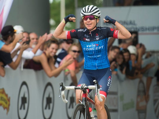 Amber Neben celebrates as she wins the USA Cycling Road Race National Championship with a time of 2:49:34 on Sunday, June 25, 2017.