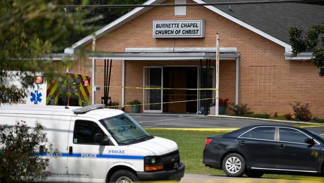 The scene at Burnette Chapel Church of Christ where multiple shots were fired Sunday, Sept. 24, 2017, in Antioch, Tenn.