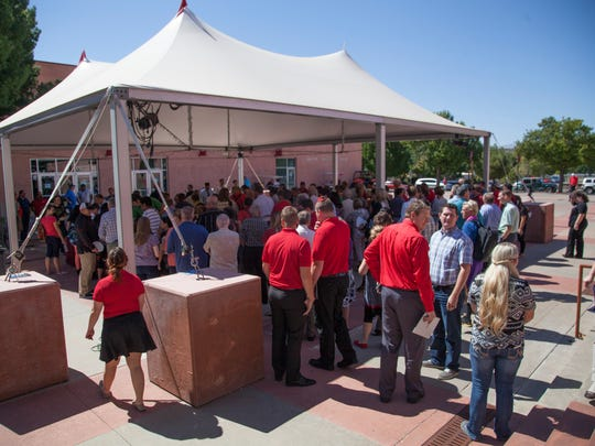 Members of the community are treated to lunch after Dixie State President Richard Williams presented his strategic plan at the Cox Auditorium on Wednesday, Sept. 23, 2015.