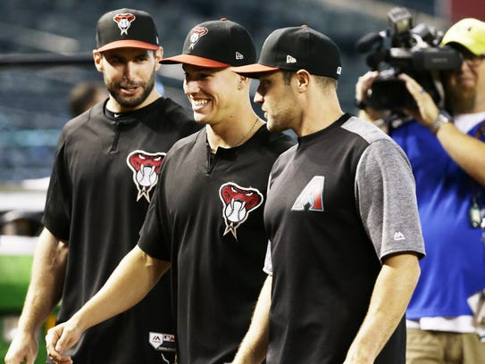 Diamondbacks players Paul Goldschmidt, Jake Lamb and