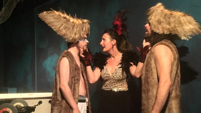 """Tamora (Laura Monagle) stages a revenge tragedy with her sons Chiron (Ben Braun, left) and Demetrius (Nathan Danzer) in """"Titus Andronicus."""""""