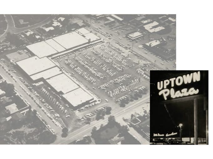 Uptown Plaza, with its wide expanse of parking, has