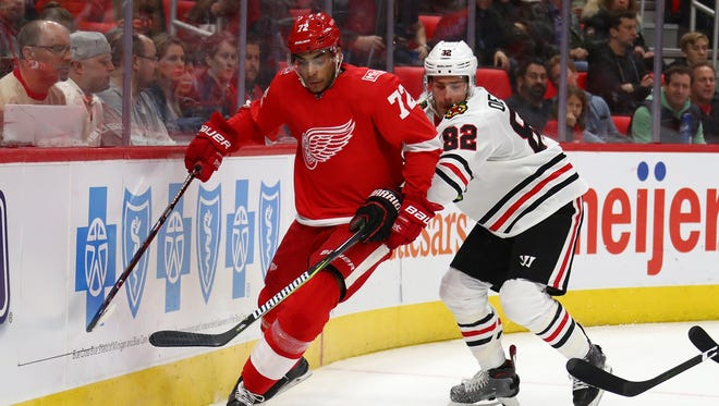 The play of Andreas Athanasiou is among the bright spots this season for the Detroit Red Wings.