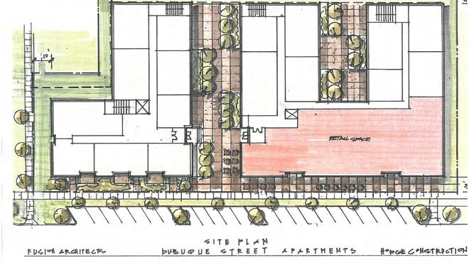 A sketch of proposed redevelopment of the western half of the 600 block of South Dubuque Street.