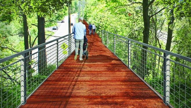 This rendering shows a concept for an elevated section of the Hudson Highlands Fjord Trail connecting Beacon with Cold Spring.