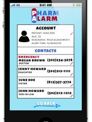 The interface on Pharm Alarm! graphic interface