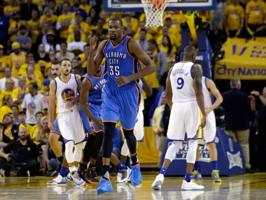 Kevin Durant's final season in Oklahoma City, 2015-16, may have been his best for the Thunder, though he didn't win the MVP award.