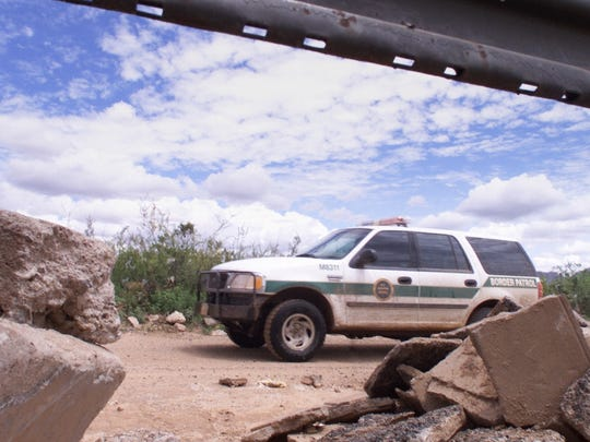 Border Patrol vehicle near the Mexico border east of Douglas.