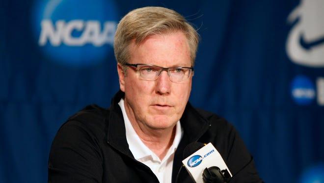 Iowa Hawkeyes head coach Fran McCaffery speaks to media during practice before the 2015 NCAA Tournament at KeyArena.