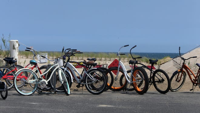 Bikes parked in Sea Girt.