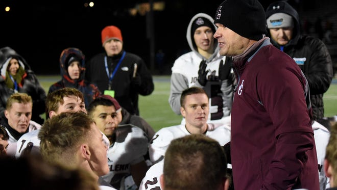John Glenn coach Matt Edwards speaks to his team after last week's 33-27 win over Licking Valley. The Muskies face Philo in Friday's regional final at Zanesville.