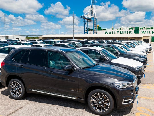 BMWs are ready to be loaded onto a ship for export