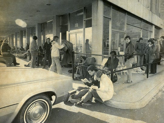 Lines of persons seeking tickets to Frank Sinatra's scheduled May 27-31, 1976, appearance at the Latin Casino, Route 70, Cherry Hill, began forming about 5 a.m.  Sinatra would reappear at the Latin to make up two missed days from his last appearance when he came down with the flu.  This March 26, 1976  Courier-Post photo is by Bob Bartosz