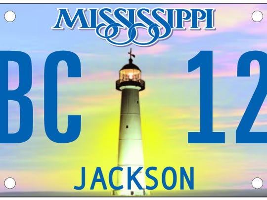 Replica of an auto license plate in Mississippi.