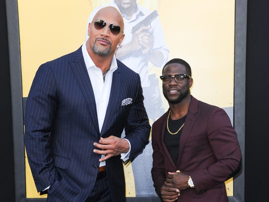 Dwayne Johnson and Kevin Hart attend the Los Angeles